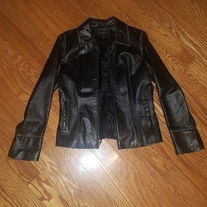 Colebrook Black Leather Jacket -Size Medium